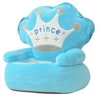 vidaXL Plišasti otroški stol Prince modre barve