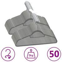 vidaXL Obešalniki 50 kosov nedrseči sivi žamet