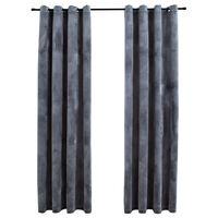 vidaXL Zatemnitvene zavese z obročki 2 kosa žamet antracitne 140x245cm