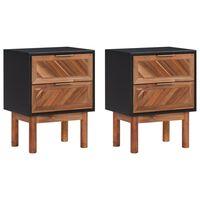 vidaXL Nočna omarica 2 kosa 40x30x53 cm trden akacijev les in mediapan