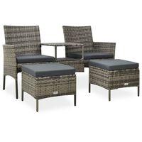 vidaXL Vrtni kavč dvosed z mizico in stolčki poli ratan siv