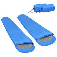 vidaXL Lahka spalna vreča 2 kosa modra 15 °C 850 g