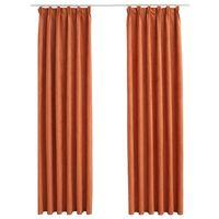 vidaXL Zatemnitvene zavese z obešali 2 kosa rjaste 140x225 cm
