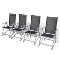 vidaXL Zložljivi vrtni stoli 4 kosi aluminij
