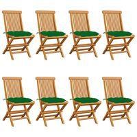 vidaXL Vrtni stoli z zelenimi blazinami 8 kosov trdna tikovina