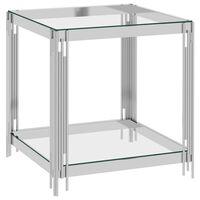 vidaXL Klubska mizica srebrna 55x55x55 cm nerjaveče jeklo in steklo