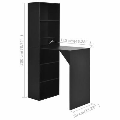 vidaXL Barska miza z omarico črna 115x59x200 cm