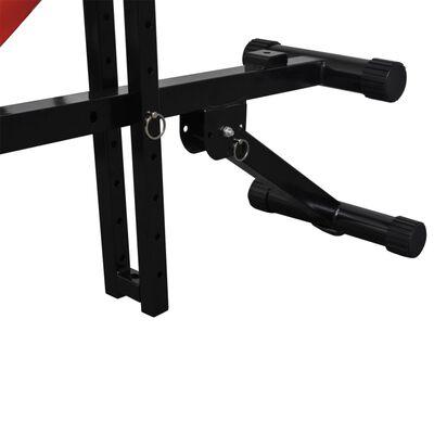 vidaXL Prilagodljiva vadbena klop s kompletom uteži in palic 30,5 kg