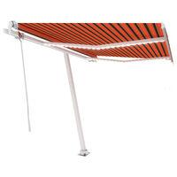 vidaXL Avtomatska tenda LED + senzor 300x250 cm oranžna/rjava