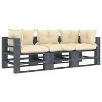 vidaXL Vrtni kavč iz palet trosed s krem blazinami lesen