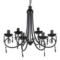Elegantni Kristalni Viseči Lestenec Črne barve 6 Žarnic