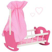 vidaXL Posteljica za dojenčka igrača s streho MDF 50x34x60 cm roza
