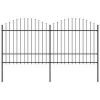 vidaXL Vrtna ograja s koničastimi vrhovi jeklo (1,5-1,75)x3,4 m črna