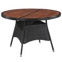 vidaXL Vrtna miza 115x74 cm poli ratan in trden akacijev les