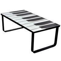 vidaXL Klubska mizica s steklenim namizjem in potiskom klavirja