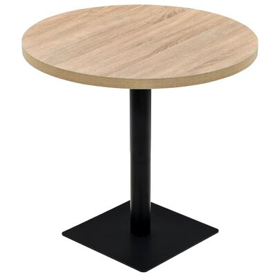 vidaXL Bistro miza mediapan in jeklo okrogla 80x75 cm barva hrasta