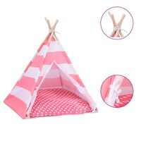 vidaXL Mačji tipi šotor z vrečo peach skin črtast 60x60x70 cm
