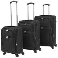 vidaXL 3 delni komplet mehkih potovalnih kovčkov črne barve