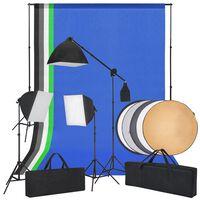 vidaXL Komplet za fotografski studio s softboxi, ozadji in reflektorjem