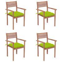 vidaXL Vrtni stoli 4 kosi s svetlo zelenimi blazinami trdna tikovina