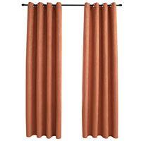 vidaXL Zatemnitvene zavese z obročki 2 kosa rjaste 140x245 cm