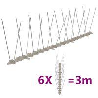 vidaXL Plastične bodice proti pticam in golobom 2-vrsti 6 kosov 3 m