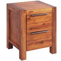 vidaXL Nočna omarica iz trdnega akacijevega lesa rjava 45x42x58 cm