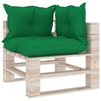vidaXL Garden Pallet Corner Sofa with Cushions Pinewood (315822+314620)