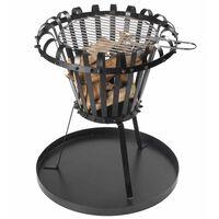 Perel Ognjišče v obliki košare s posodo za pepel okroglo črno