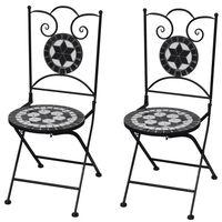 vidaXL Zložljivi bistro stoli 2 kosa keramika črne in bele barve