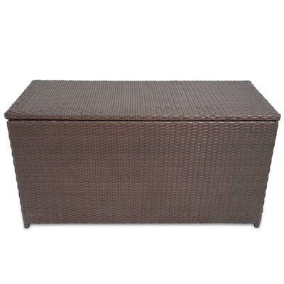 vidaXL Vrtna škatla rjava 120x50x60 cm poli ratan