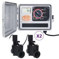 vidaXL Upravljalnik za zalivanje vrta s 4 elektromagnetnimi ventili