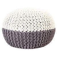 vidaXL Ročno pleten tabure antraciten in bel 50x35 cm iz bombaža