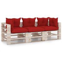 vidaXL Vrtni kavč trosed iz palet z blazinami borovina