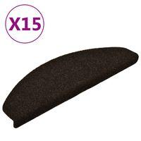 vidaXL Samolepilne preproge za stopnice 15 kosov temno rjave 65x21x4cm