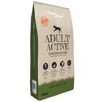 vidaXL Premium suha hrana za pse Adult Active Chicken & Fish 15 kg