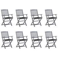 vidaXL Zložljivi zunanji stoli 8 kosov z blazinami trden akacijev les