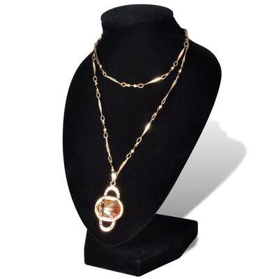 Flanelasto stojalo za ogrlice črno 9 x 8,5 x 15 cm 4 kosi