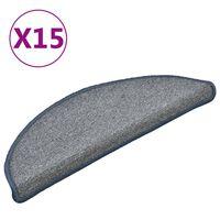 vidaXL Preproge za stopnice 15 kosov svetlo sive in modre 56x17x3 cm