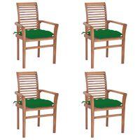 vidaXL Jedilni stoli 4 kosi z zelenimi blazinami trdna tikovina