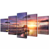 Set platen s printom plaže s paviljonom 100 x 50 cm