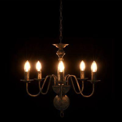 vidaXL Lestenec antično črn 5 x E14 žarnice