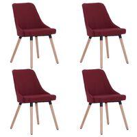 vidaXL Jedilni stoli 4 kosi vinsko rdeče blago