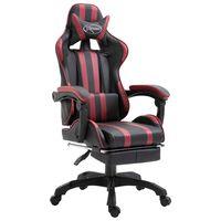 vidaXL Gaming stol z naslonjalom za noge vinsko rdeče umetno usnje