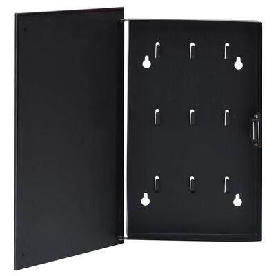 vidaXL Omarica za ključe z magnetno tablo črna 30x20x5,5 cm