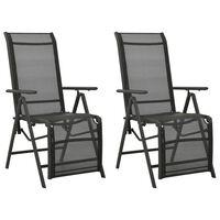 vidaXL Nastavljivi vrtni stoli 2 kosa tekstil in aluminij črni