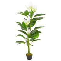 vidaXL Umetna rastlina flamingovec z loncem bela 155 cm