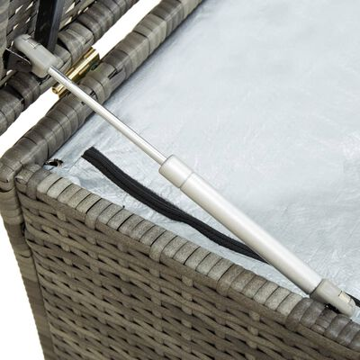 vidaXL Vrtna škatla za shranjevanje poli ratan 200x50x60 cm siva