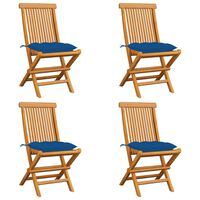 vidaXL Vrtni stoli z modrimi blazinami 4 kosi trdna tikovina
