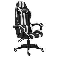 vidaXL Racing stol črno in belo umetno usnje